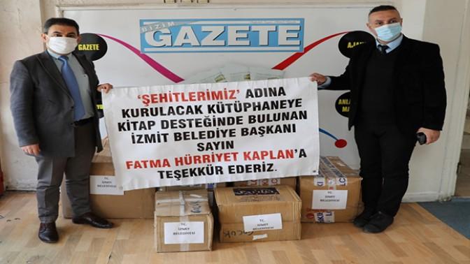 Fatma Kaplan Hürriyet'ten Şehitler Kütüphanesi'ne 1500 kitap desteği