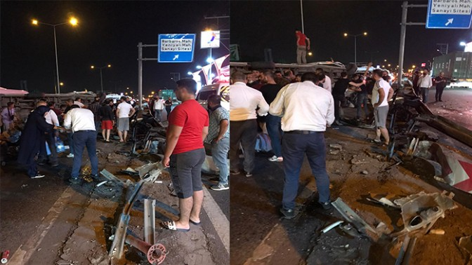 Körfez'de işçi servisi devrildi: 7 yaralı